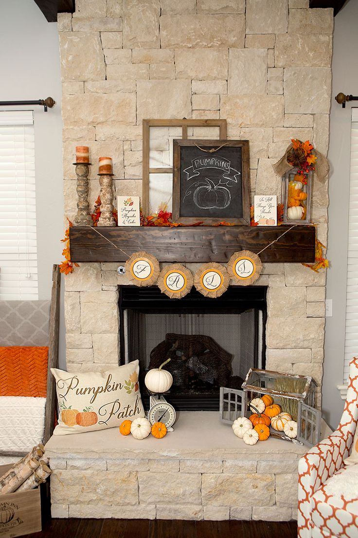 Shows pmupkins in lantern idea...DIY Rustic Farmhouse Style Fall Mantel Inspiration Do it Yourself Home Decor Ideas for Autumn plus FREE Printables via Lillian Hope Designs