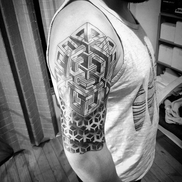 50 Geometric Arm Tattoo Designs For Men Bicep Ink Ideas In 2020 Sleeve Tattoos Tattoos For Women Half Sleeve Half Sleeve Tattoos Designs
