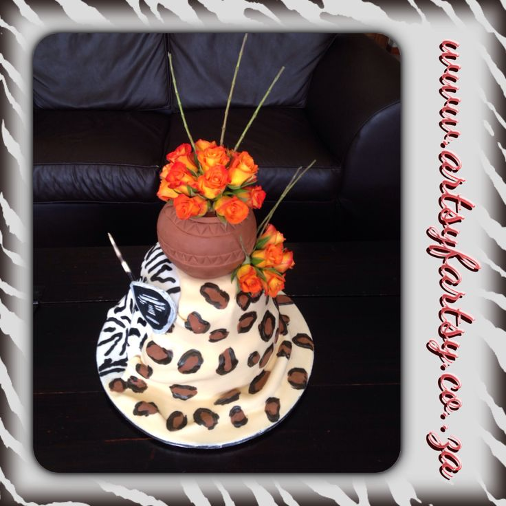 Leopard and Zebra Skin Wedding Cake with African Pot and Fresh Orange Roses