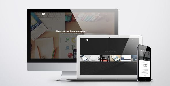 Crow - Creative Agency HTML Template . Crow has features such as High Resolution: Yes, Compatible Browsers: IE9, IE10, IE11, Firefox, Safari, Opera, Chrome, Columns: 4+