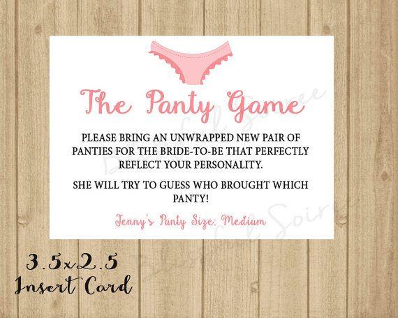 Panty Game Printable Enclosure   Lingerie Shower   Custom ...