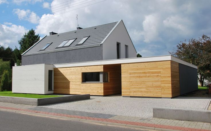 Modernes haus mit twist twists haus and architecture for Fertighaus satteldach modern