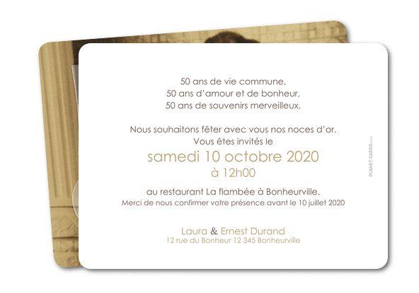 carte invitation anniversaire mariage noces dor photo grsc 57 rc1 carte pinterest mariage photos et invitations - Texte 50 Ans De Mariage Noces D Or