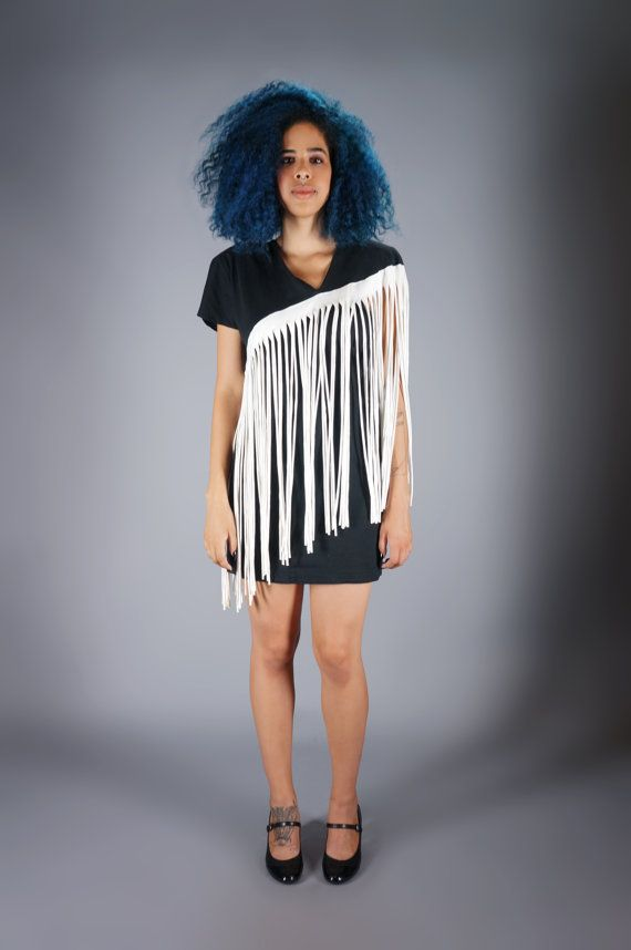 80s Fringe Body Con Dress Vintage Avant Garde Mini Dress