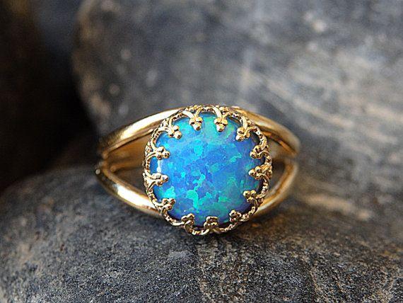 Opal Gold Ring Gemstone ring Blue Opal Ring October   $59