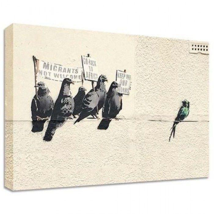 The Banksy Shop - Banksy Canvas Print - Bird Immigration, £24.95 (http://www.thebanksyshop.co.uk/banksy-canvas-print-bird-immigration/)