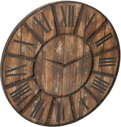 "Calverley 36"" Black Wall Clock   - Art Van Furniture"