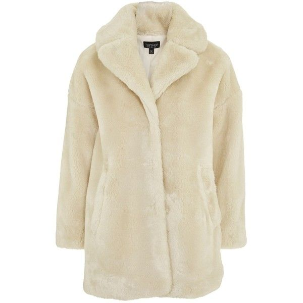 Topshop Polar Bear Faux Fur Coat (2,355 MXN) ❤ liked on Polyvore featuring outerwear, coats, cream, brown coat, imitation fur coats, fake fur coat, cream faux fur coat and topshop coats