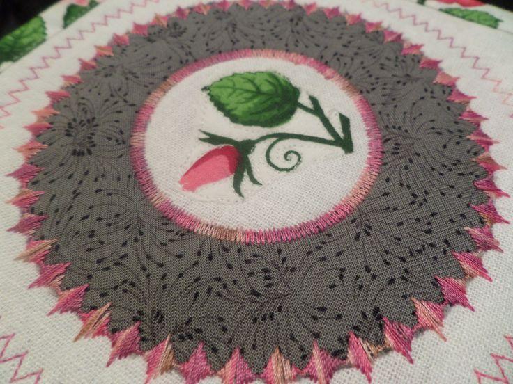 Circle ruler and decorative stitching.
