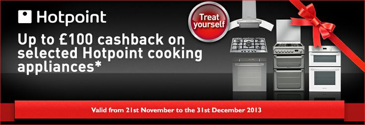 Hotpoint are offering £100 cash back on selected cooking appliances.  Please download the form from the link below; http://www.bellsdomestics.co.uk/videos/Cooking-Cashback-Form.pdf Don't forget! As an authorised centre for Hotpoint, we stock a considerable amount of Hotpoint cookers.