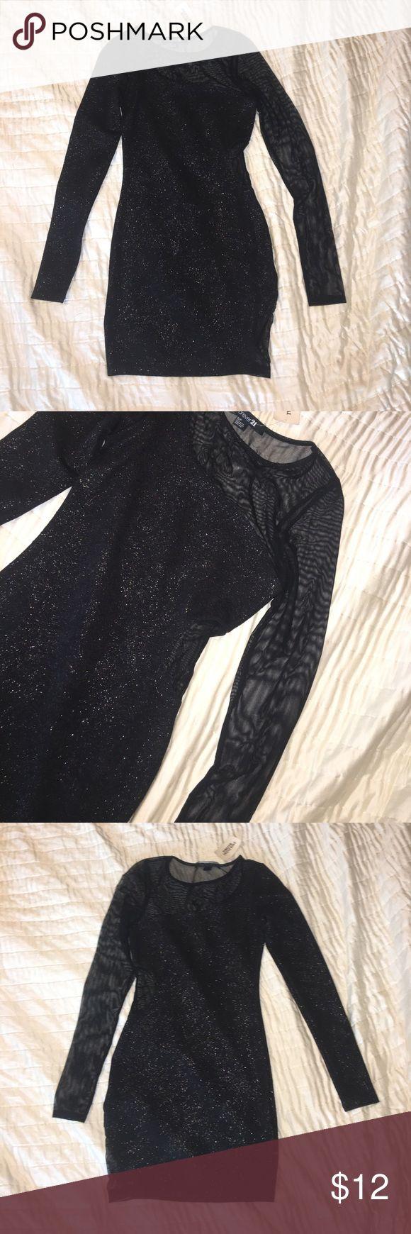 long sleeved dress short length, long sleeve , black / silver Forever 21 Dresses Long Sleeve
