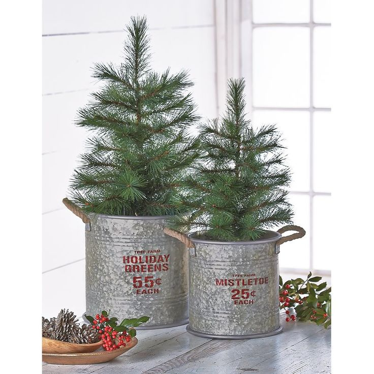 Farmhouse style Christmas buckets