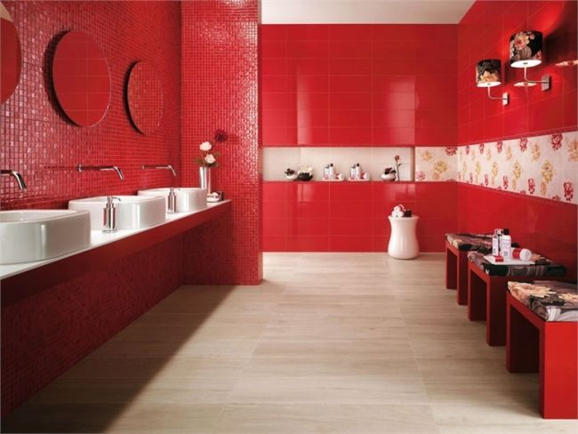 bathroom wall tiles atlas concorde red white mosaic floral motifs