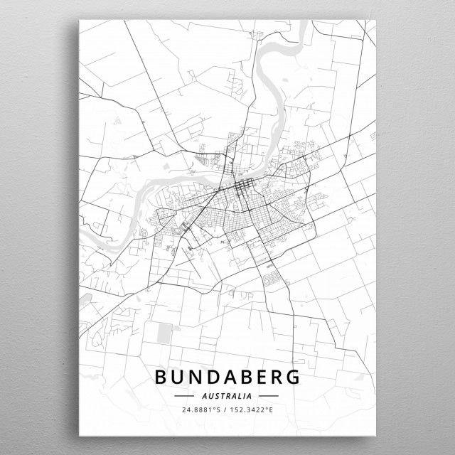Bundaberg Australia Light City Map Metal Poster Light Maps