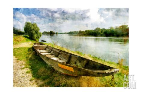 Pictorial Autumn Scene With Old Boat - Artwork In Painting Style Art Print by Maugli-l at Art.com