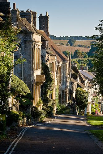 Looking down Burford High Street in Burford, Oxfordshire, Cotswalds