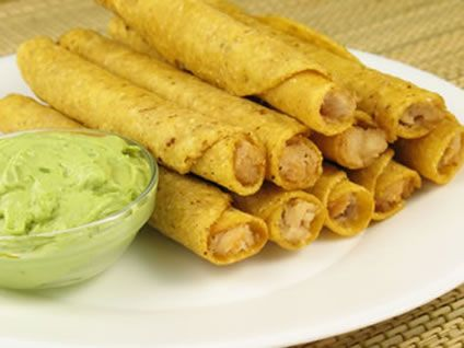 Taquitos are very popular in Mexico and the best ones are slightly soft rather than completely rigid. You can make an easy guacamole recipe to serve on the side or else sour cream or salsa goes just as nicely.