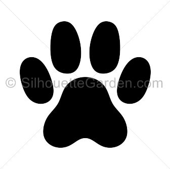 Cat paw print silhouette clip art. Download free versions of the image in EPS, JPG, PDF, PNG, and SVG formats at http://silhouettegarden.com/download/cat-paw-print-silhouette/