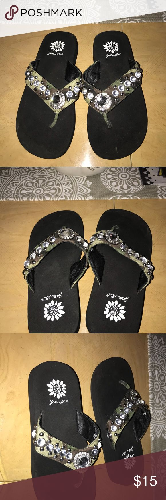 Yellow Box Camo Bling Flip Flops Excellent condition! Hardly worn. Very comfy! Yellow Box Shoes Sandals