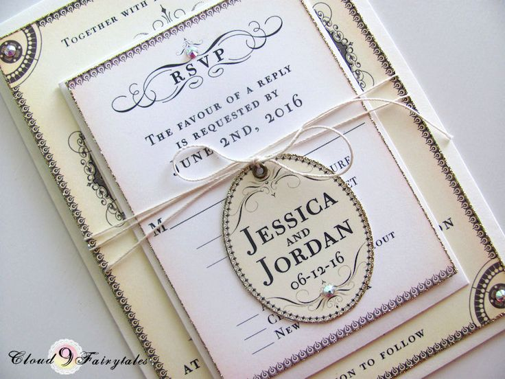 Calligraphy Wedding Invitations Pale Yellow By Cloud9Fairytales