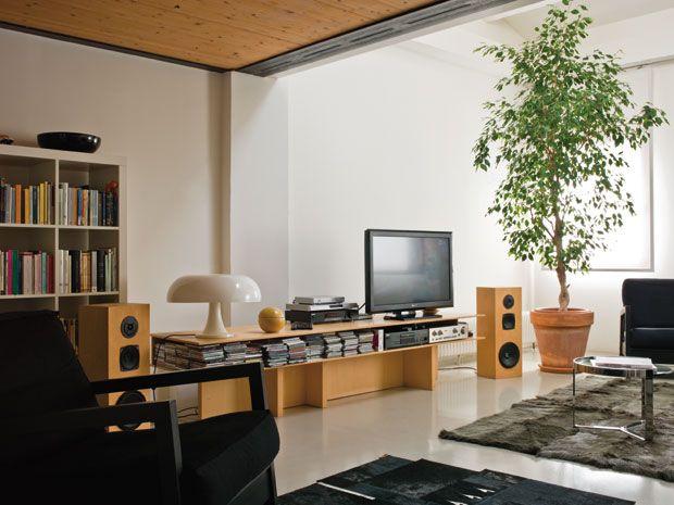 Nel soggiorno, il mobile per la tv, in multistrato di betulla, è ...