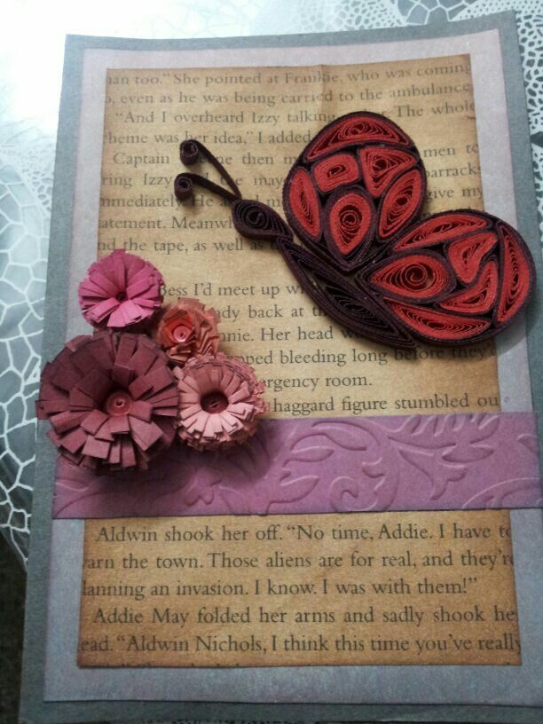 Quilled butterfly, fringed flowers and distress inking.... a card for a dear princess...
