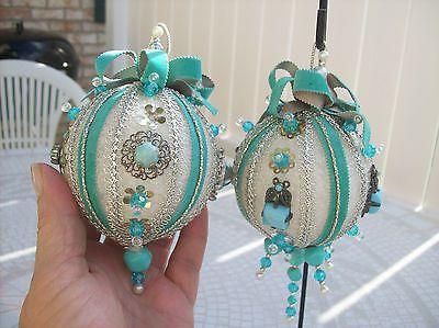 Vtg Handmade Heavily Beaded Sequined Pearl Christmas ornaments Lot of 18 Pretty!