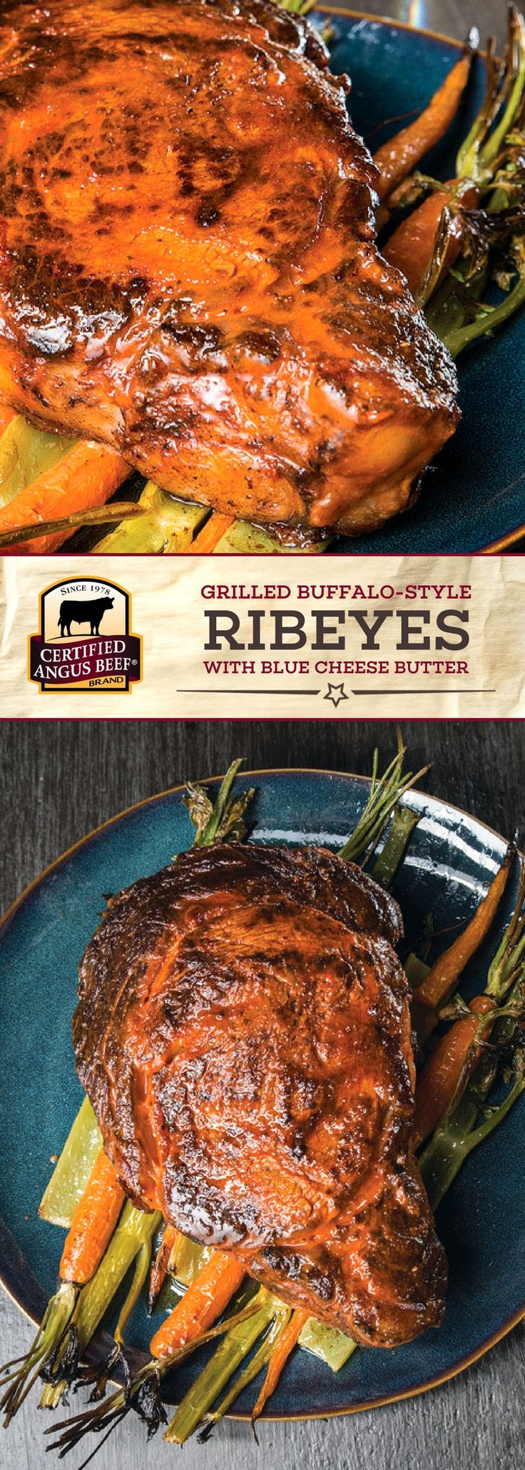 Certified Angus Beef®️ brand Grilled Buffalo-style Ribeyes with Blue Cheese Butter is a mouth-watering beef recipe that uses the BEST ribeye steaks and a tasty hot sauce marinade! The blue cheese butter really makes this dish pop with flavor!  #bestangusbeef #certifiedangusbeef #beefrecipe #steakrecipe