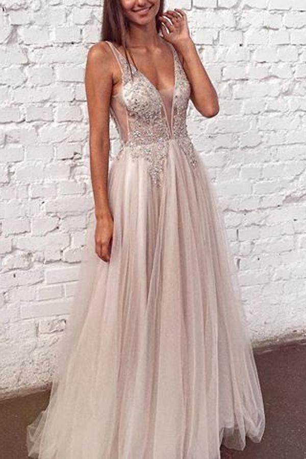 Beaded Tulle See Through V Neck Formal Dresses Long Prom Dresses ... fb5d34c3ee03