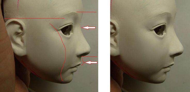私が顔を造形知る際注意している点です。 耳の高さ 頬のS字カーブ 目尻の構造   事のほか可愛くしたい という時は 上唇、人中付近の返しを造形し 鼻の尾根の一番低い部分を下の方に設定することです。   似顔でもデフォルメは必要です。