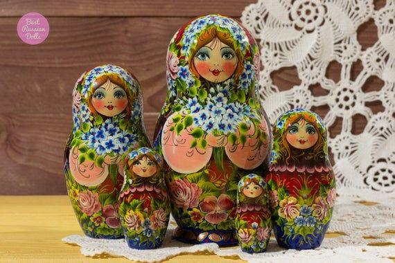 Matryoshka, Gift idea for girlfriend, Handpainted russian nesting doll, Gift for woman, Wooden babus