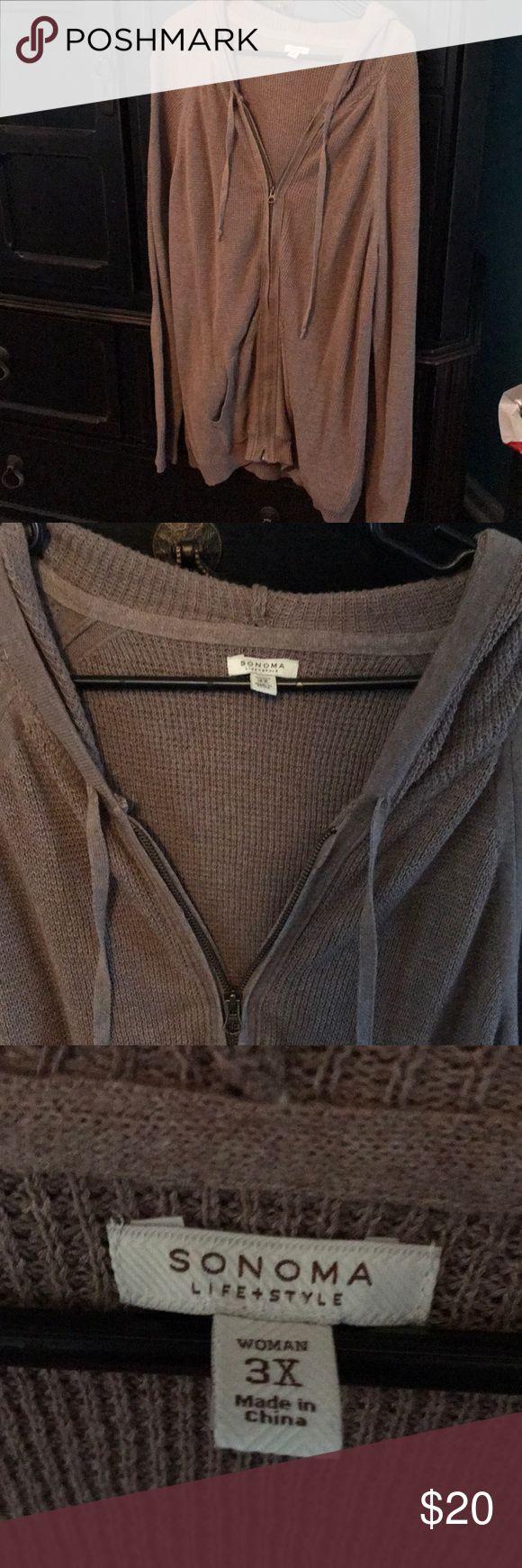 Brown zip up jacket with hoodie Brown zip up jacket with hoodie; front pockets too Sonoma Jackets & Coats Utility Jackets