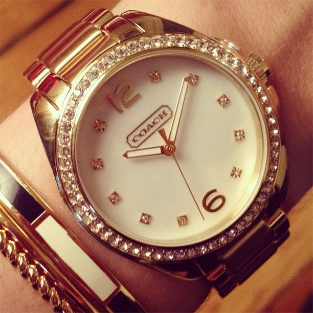 The Tristen Rosegold Plated Crystal Bracelet Watch from Coach