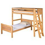 Camaflexi Mission Style Solid Wood L-Shaped Loft Bed with End Angled Ladder Twin-Over-Twin Natural deals week