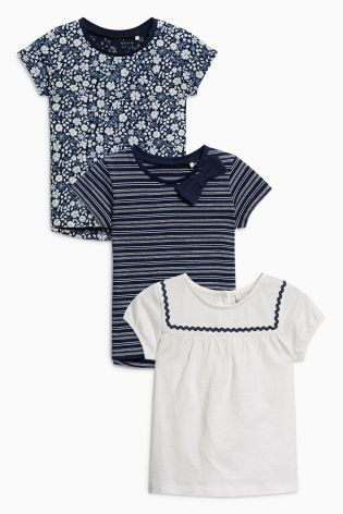 Navy/White T-Shirts Three Pack (3mths-6yrs)