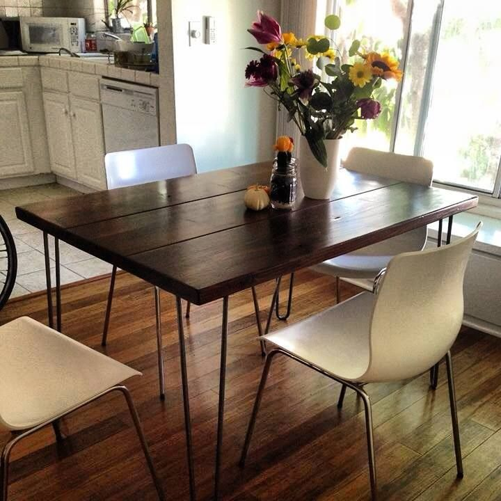 4ft Modern Rustic Hairpin Leg Dining Table Contact J R