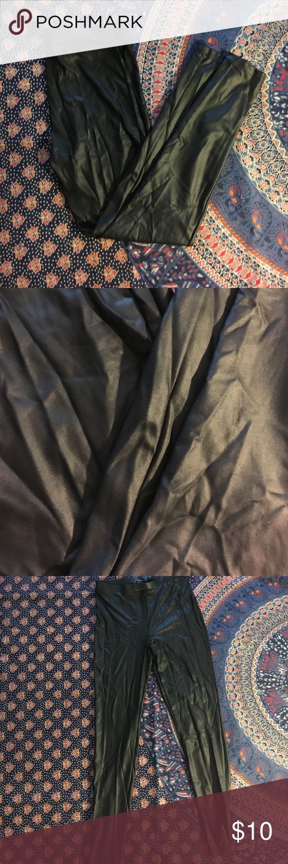 Faux leather leggings Faux Leather leggings from forever 21 worn only once for a Halloween costume as seen in pictures. They look a lot better when worn the pictures didn't do it justice so I added a pic of them being worn. Forever 21 Pants Leggings