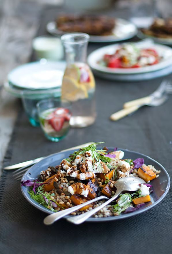 BUTTERNUT AND BARLEY SALAD WITH CHEVIN