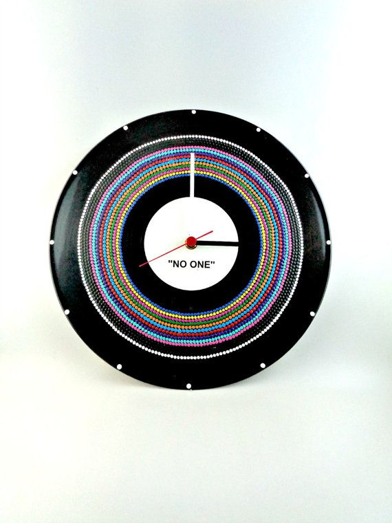 Multicolor Vinyl Clock Hand Painted Upcycled by InsaneDotting