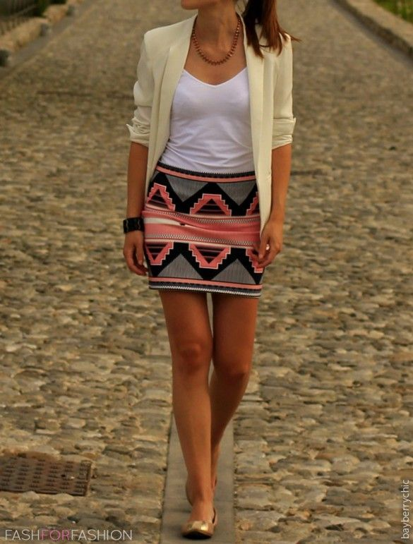 Mango Color I love bandage skirts... especially with Aztec prints... speaks classy and chic!