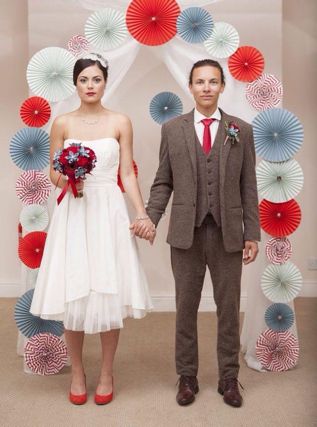Paper rosettes wedding backdrop
