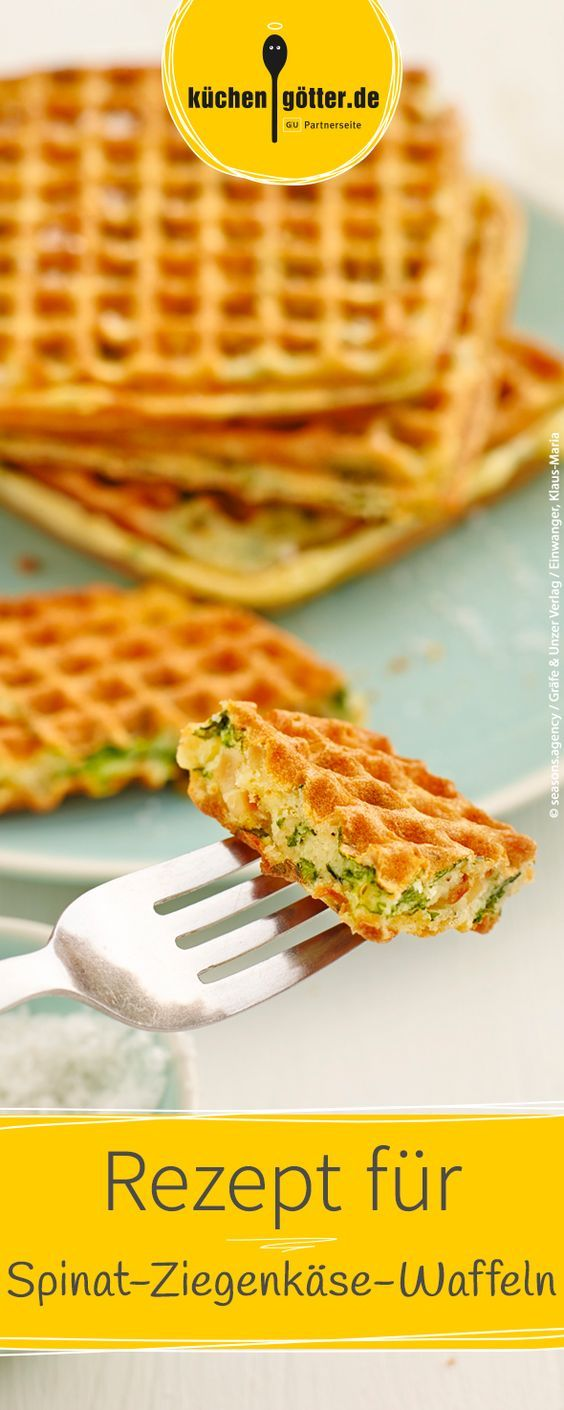 Der perfekte Snack für zwischendurch, im Büro oder auch für ein Picknick im Grünen: Hier findet ihr unser Rezept für herzhafte Spinat-Ziegenkäse-Waffeln