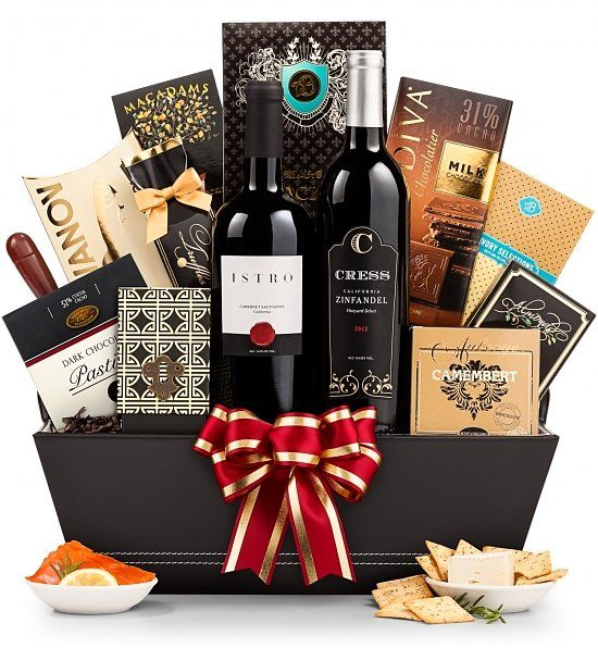 Father's Day Wine and Gourmet Experience  |  Bold, old-vine California Zinfandel and berry-rich Cabernet are the pillars of character that set the standard for this basket. They're paired with gourmet savories and sweets to create a Father's Day celebration at any address, including 5th Avenue.