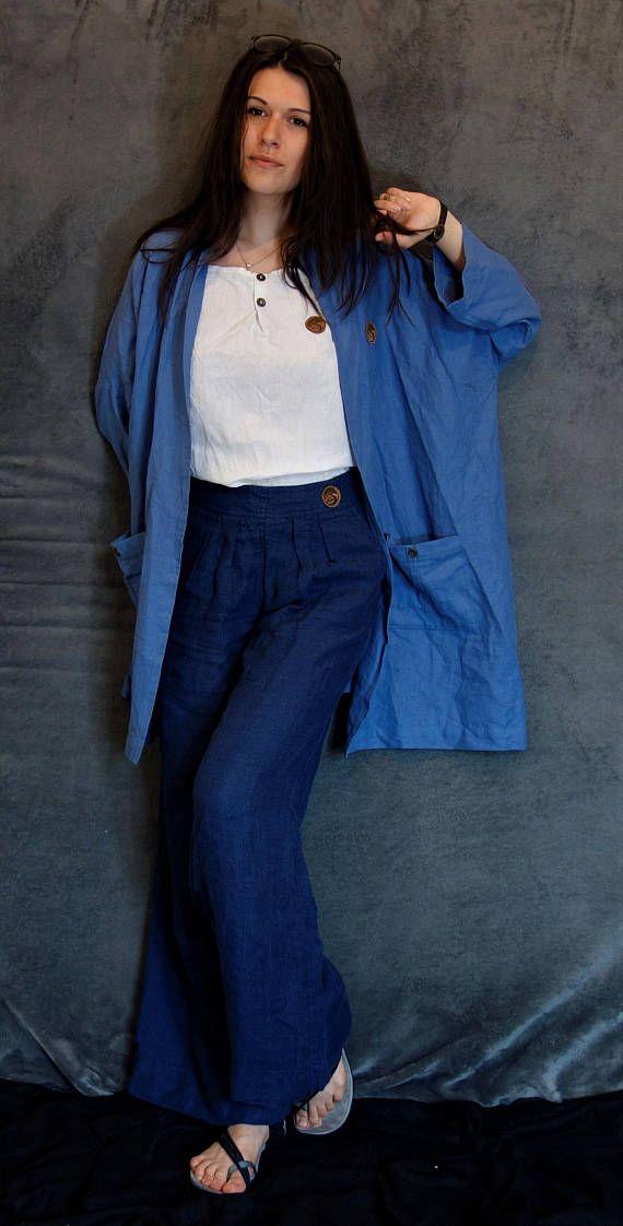 Blue Linen/Cotton Jacket Oversized Cardigan Women Kimono