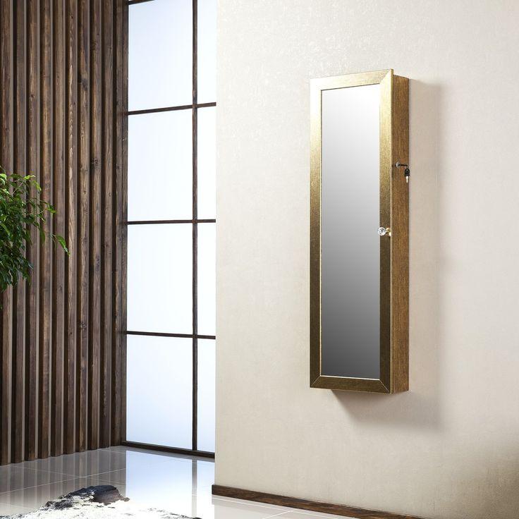 Uzamykatelné závěsné zrcadlo se šperkovnicí Angelita, zlaté | Bonami