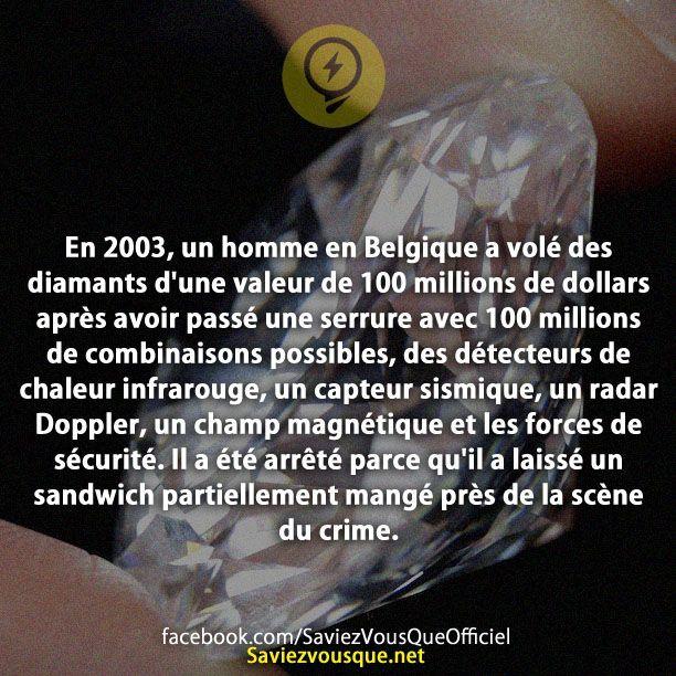 En 2003, un homme en Belgique a volé des diamants d'une valeur de 100 millions de dollars après avoir passé une serrure avec 100 millions de combinaisons possibles, des détecteurs de chaleur infrarouge, un capteur sismique, un radar Doppler, un champ magnétique et les forces de sécurité. Il a été arrêté parce qu'il a laissé un sandwich partiellement mangé près de la scène du crime. | Saviez Vous Que?