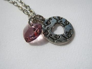 Love Charm Necklace - Eternal Ring Disk with Heart Cutout - Authentic Swarovski Crystal - Pink Silver - Ready to Ship N035