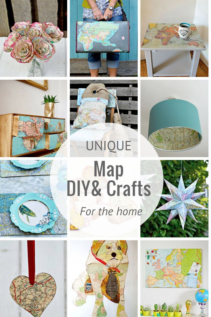 A  great collection of unique crafts and DIY's for your home using maps.  Upcycled maps, map paper, map fabric and printable maps.