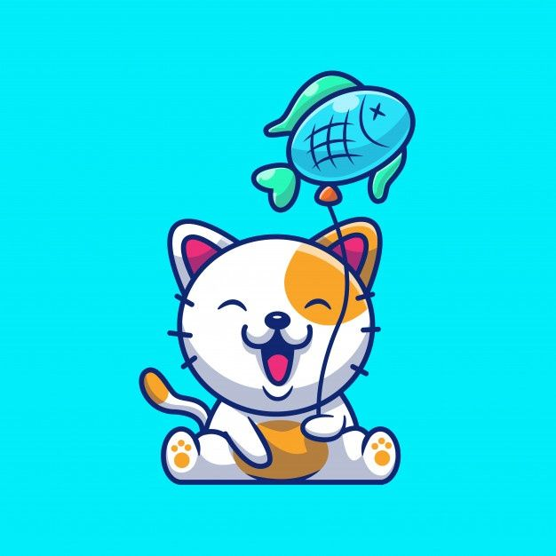 Cute Cat Holding Fish Balloon In 2020 Cat Vector Cat Day International Cat Day