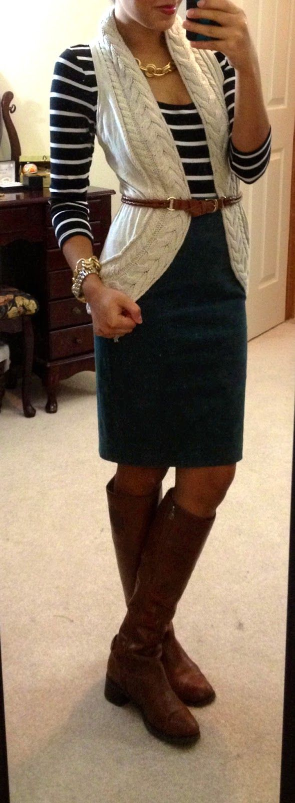 Hello, Gorgeous!: threads. JCrew corduroy pencil skirt worn over F21 striped dress, Banana Republic sweater vest, Etienne Aigner costa boots, H belt,NY watch, modified Style by Tori Spelling necklace & bracelet via Jo-Ann Fabrics